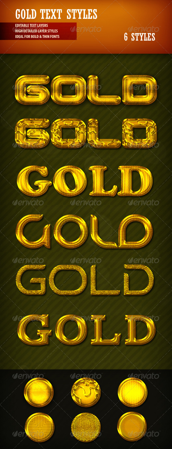 GraphicRiver Gold Text Styles 2504214