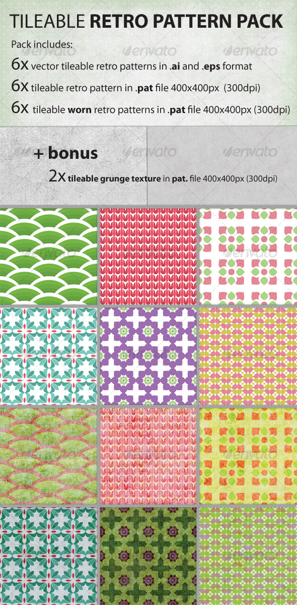 GraphicRiver Vector tileable retro pattern pack 91681