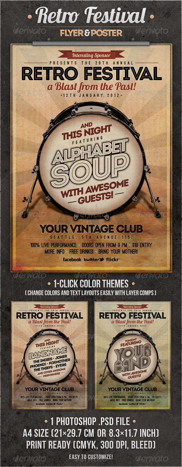 GraphicRiver Retro Festival Flyer & Poster 2510833