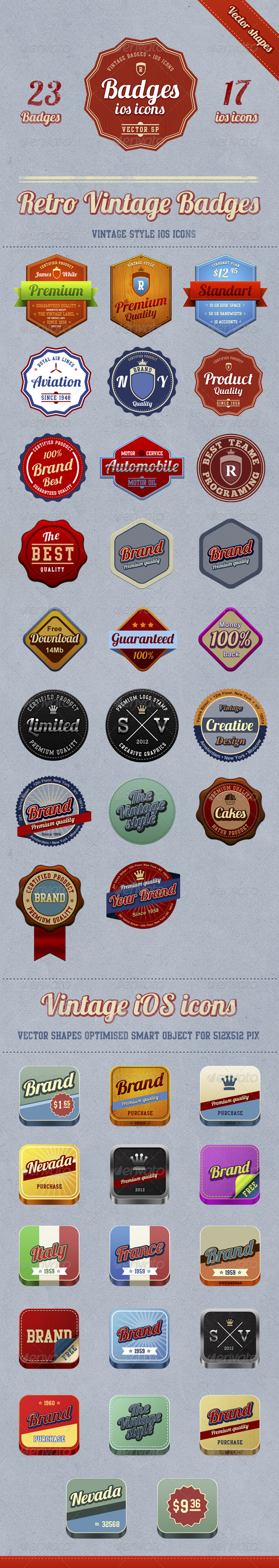 GraphicRiver 23 badges & 17 vintage iOS icons 2518399