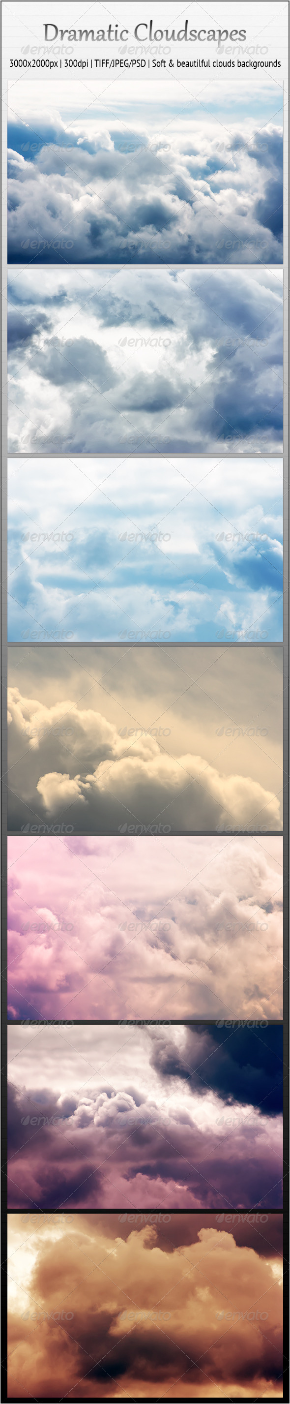 GraphicRiver Dramatic Cloudscapes 7 Soft Backgrounds 2519857