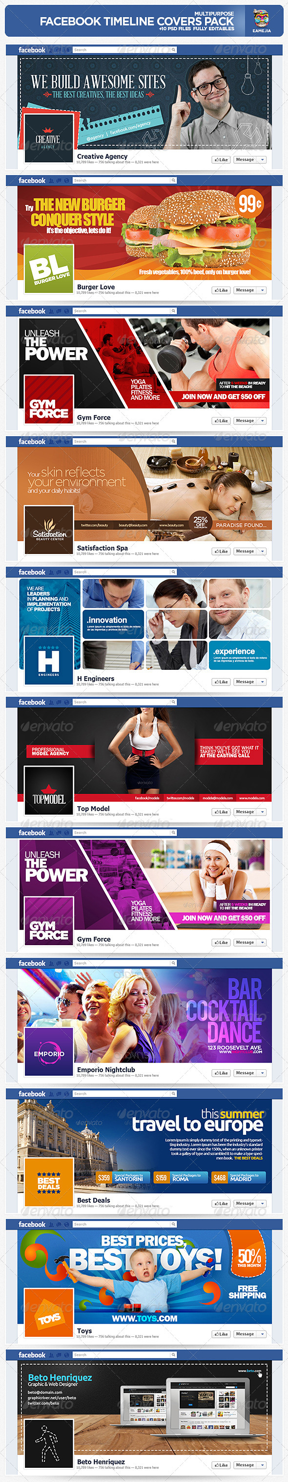 GraphicRiver Multipurpose Facebook Timeline Covers Pack 2525193