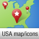 US Vector Map with GPS Icons - GraphicRiver Item for Sale