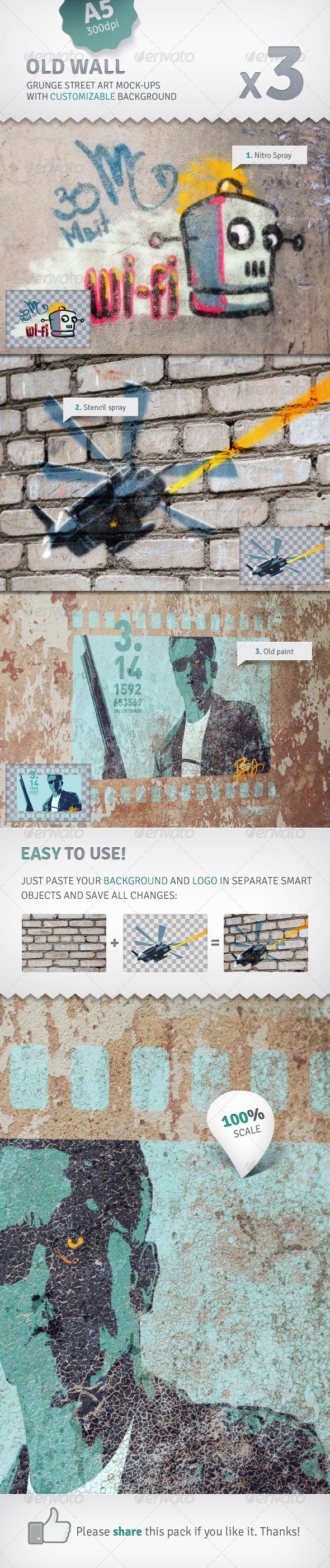 GraphicRiver Wall 3 Graffiti Street Art Mockups 2529449