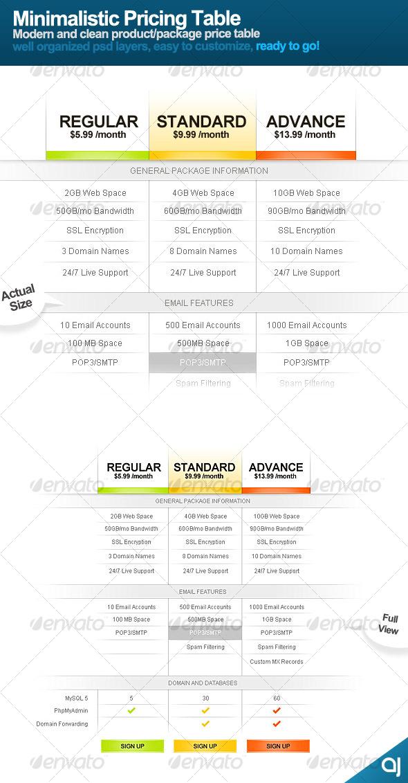 GraphicRiver Minimalistic Price Table 92337
