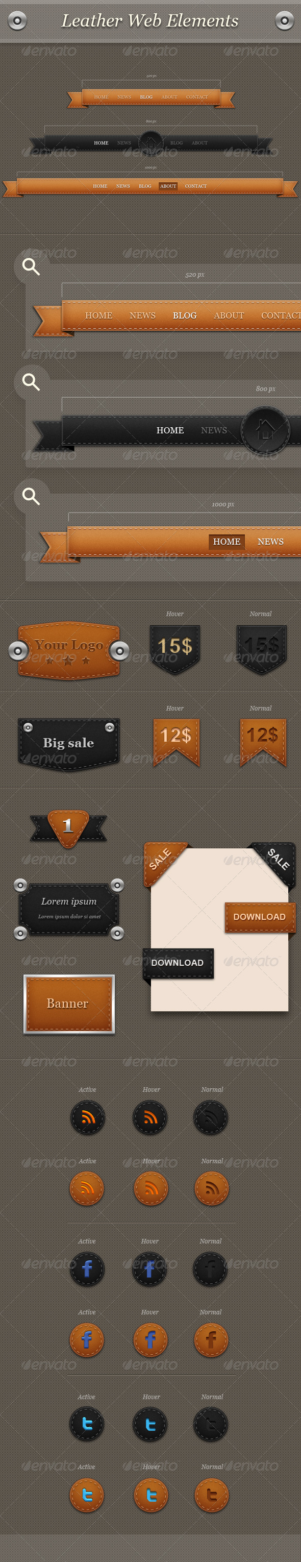 GraphicRiver Leather Web Elements 2531223