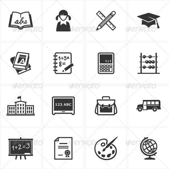 GraphicRiver School and Education Icons-Set 1 2535175