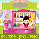Boy and Girl With Colorful Kids Shop - GraphicRiver Item for Sale