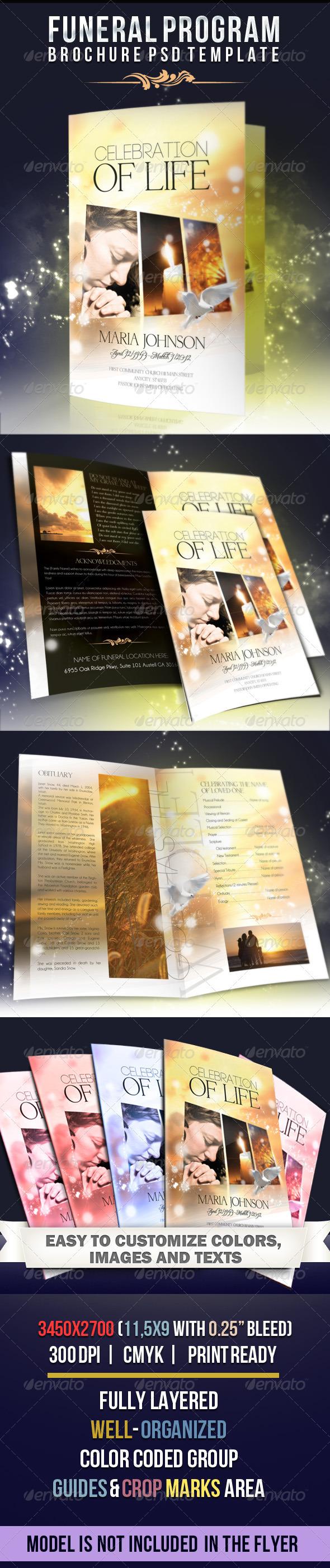 GraphicRiver Celebration of life Funeral Program Brochure Template 2549525