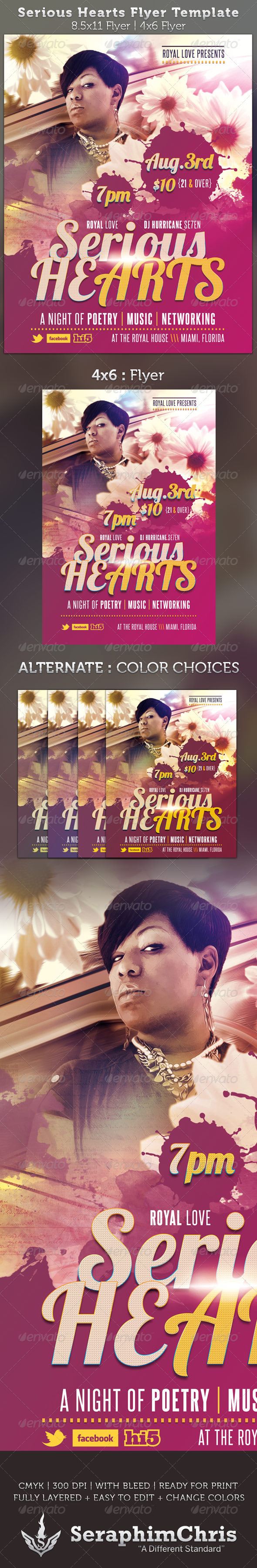 GraphicRiver Serious Hearts Flyer Template 2556855