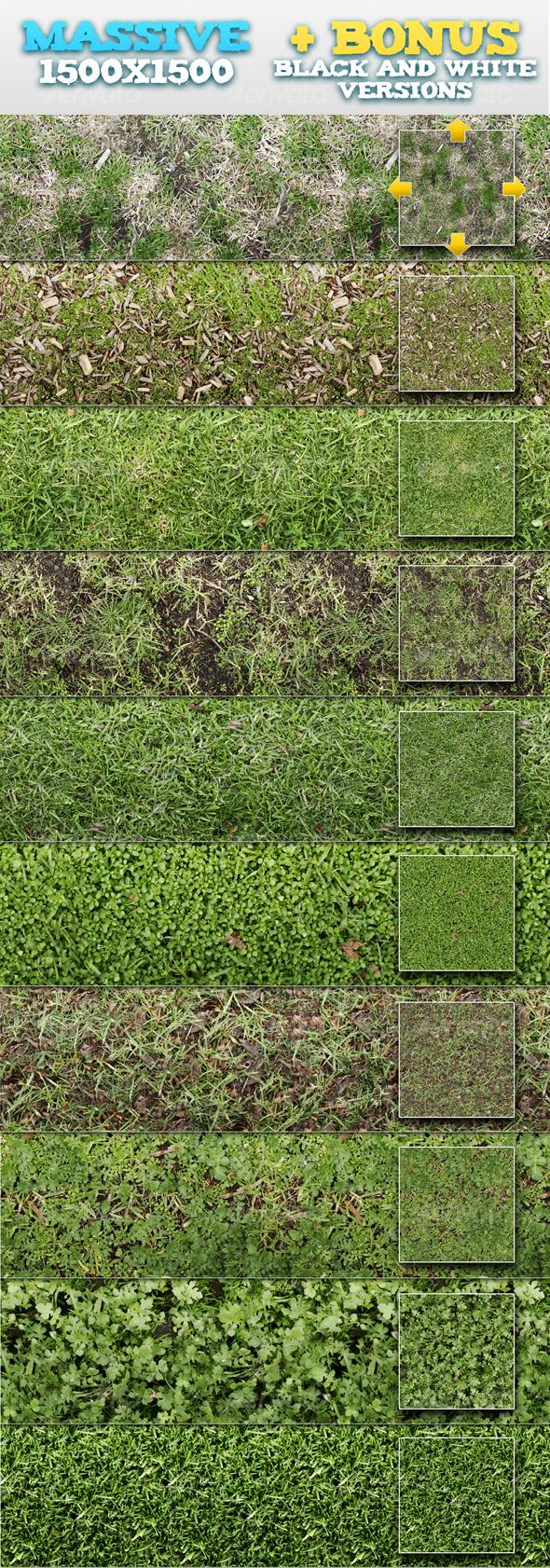 GraphicRiver 10 Tileable Grass Patterns & BONUSES 93428