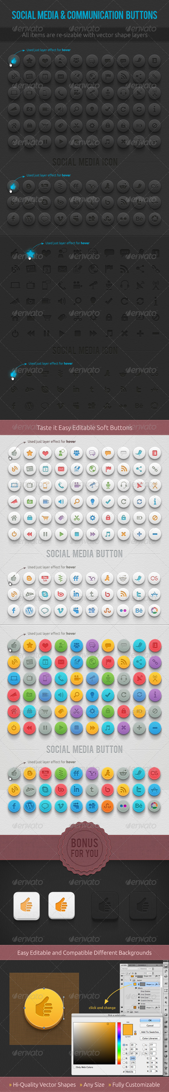 GraphicRiver Media & Communication Buttons 2447571