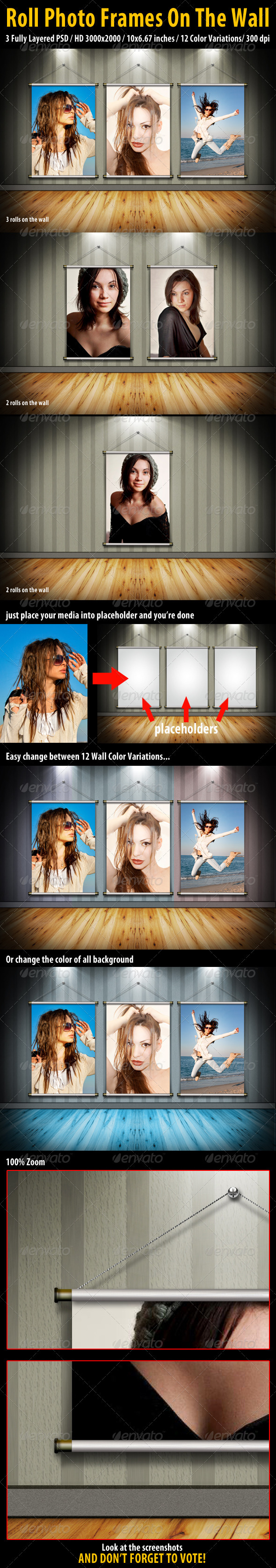 GraphicRiver Roll Photo Frames On The Wall 2564494
