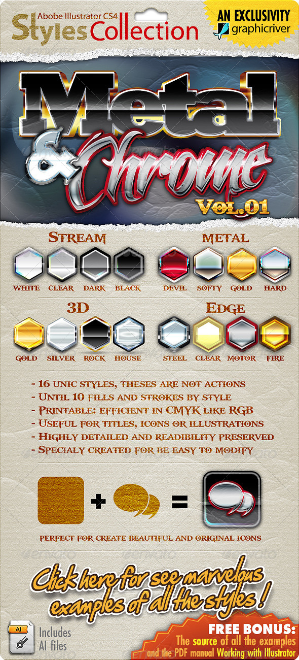 GraphicRiver Illustrator Styles Collection Metal & Chrome #01 2558365