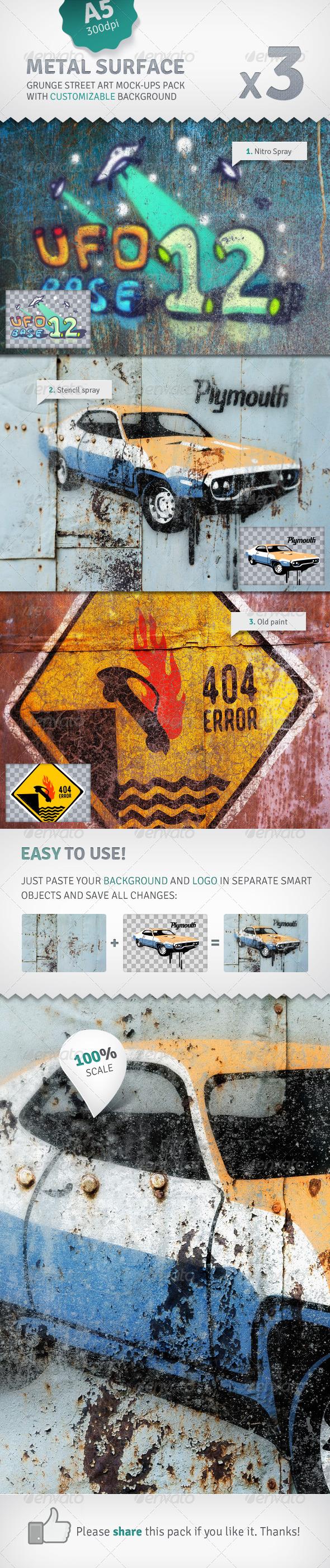 GraphicRiver Metal Surface 3 Graffiti Street Art Mockups 2577209
