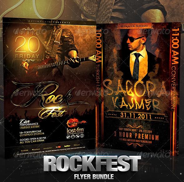 GraphicRiver Rockfest Flyer Bundle 2578695