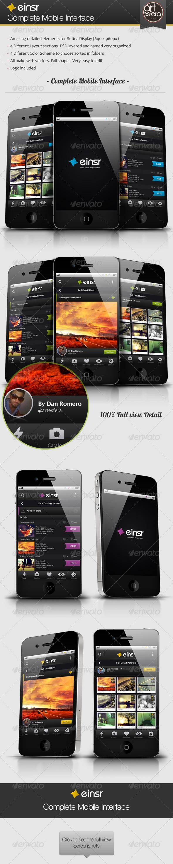GraphicRiver Einsr Complete Mobile Interface 2568746