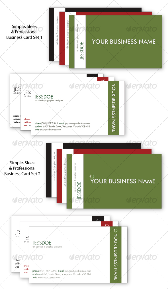 GraphicRiver Simple Sleek & Professional Business Card Set 93907