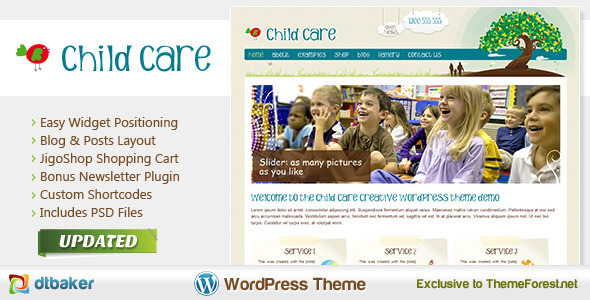 Child care creative shop and kids theme wordpress for Childcare newsletter templates