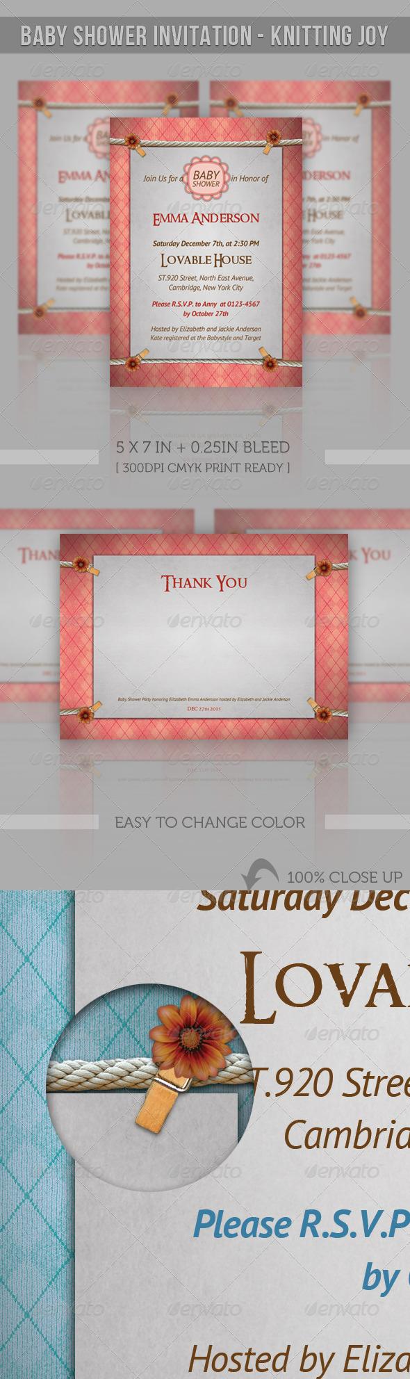 GraphicRiver Baby Shower Invitation Knitting Joy 2586689