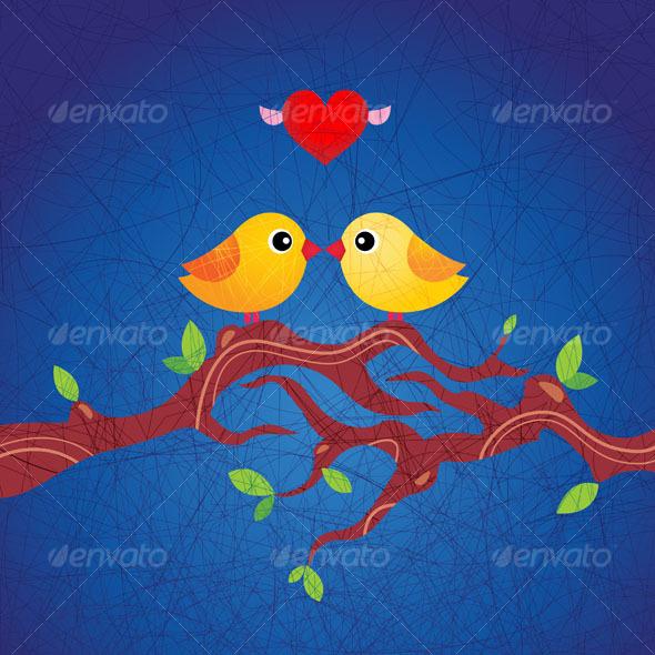 GraphicRiver Cute birds in love 94067
