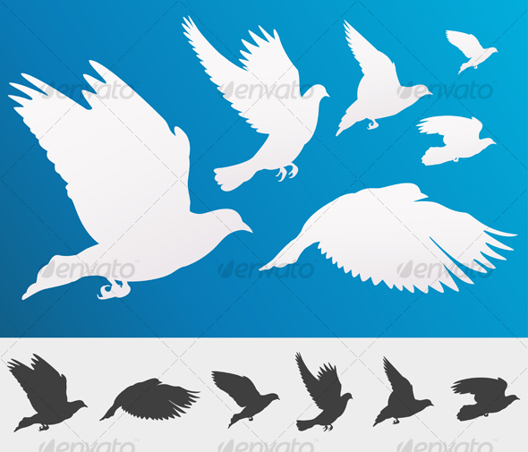 Graphic River Graceful flying white doves Vectors -  Objects  Organic objects 94068
