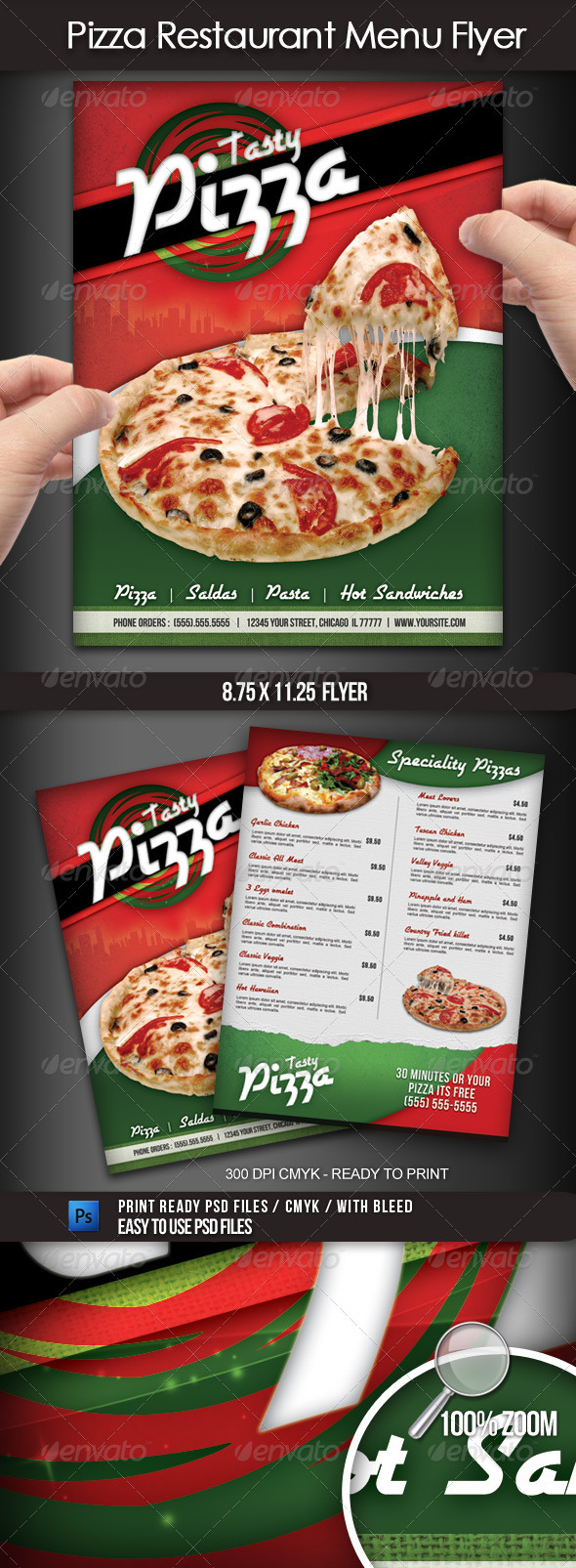 GraphicRiver Pizza Restaurant Menu Flyer 2590601