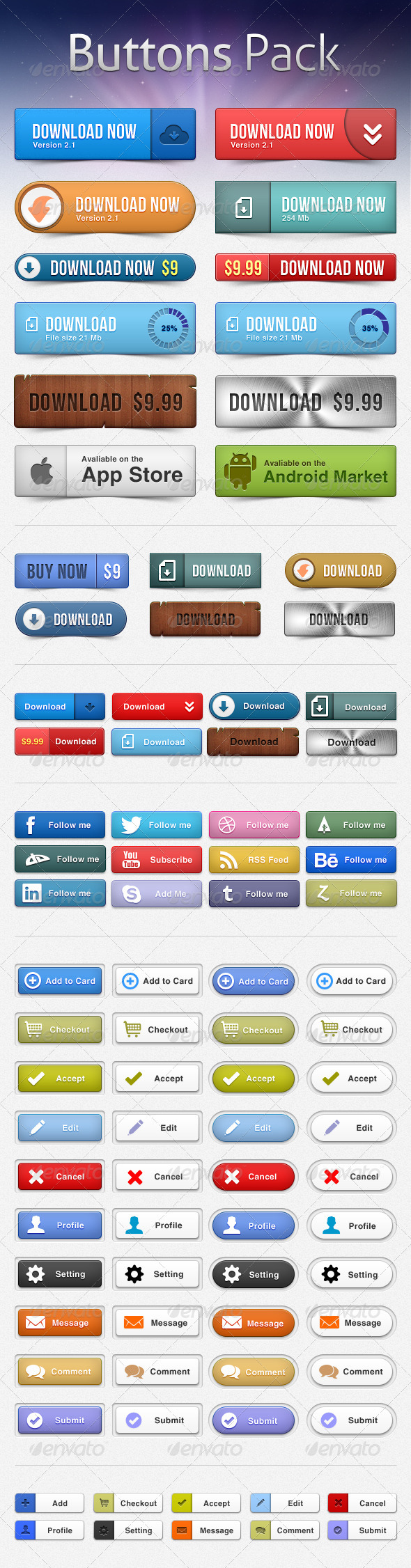 GraphicRiver Buttons Pack 2593259