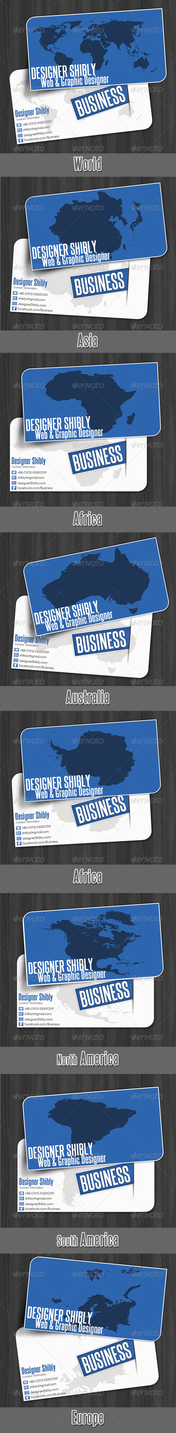 Graphic River World Map Business Card Print Templates -  Business Cards  Corporate 292210