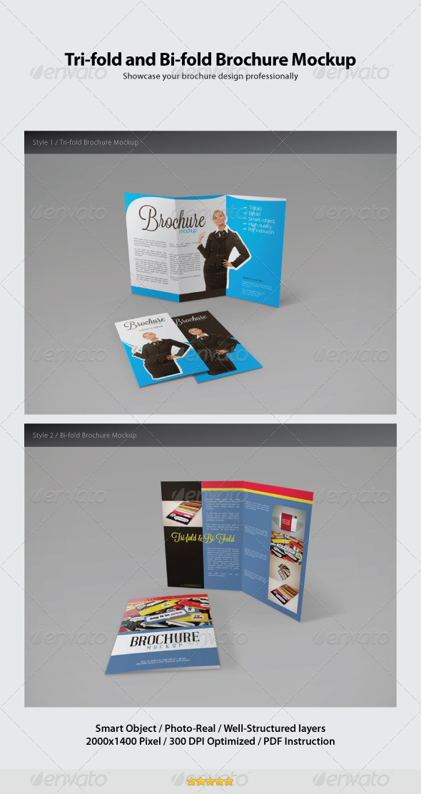 GraphicRiver Trifold and Bifold Brochure Mockup 2612909
