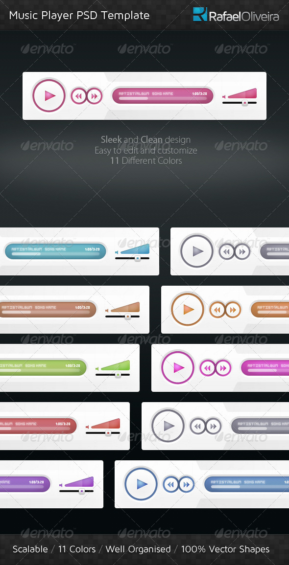 GraphicRiver Music Player PSD Template 292798