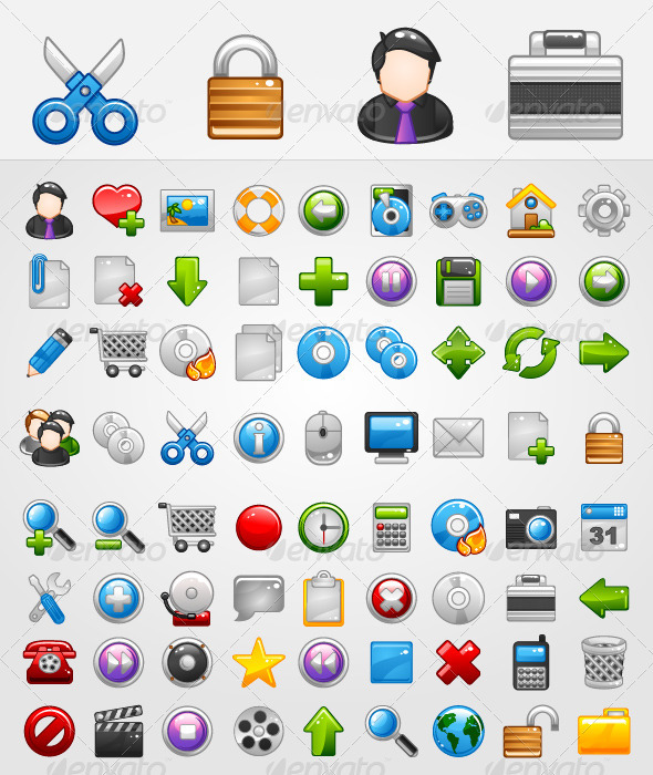 Graphic River General 72 Icons Icons -  Web 292853