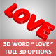 "3D Word "" LOVE "" For PS CS5, Full 3D Options - GraphicRiver Item for Sale"