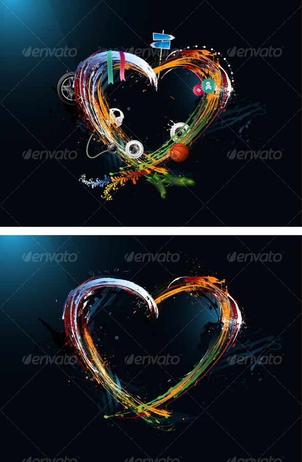 GraphicRiver Postcard Heart Valentine s Day Graffiti 95221