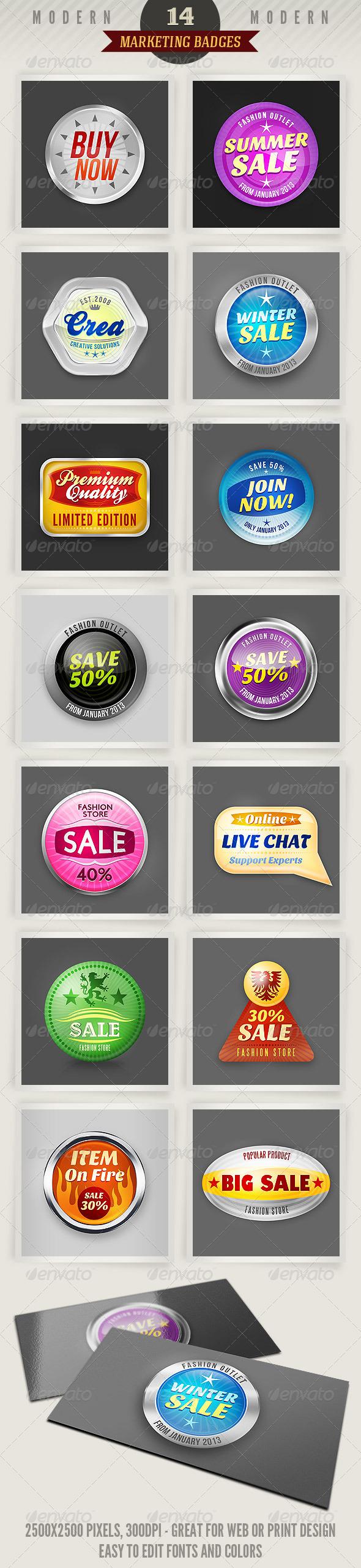 GraphicRiver 14 Modern Marketing Badges 2622142