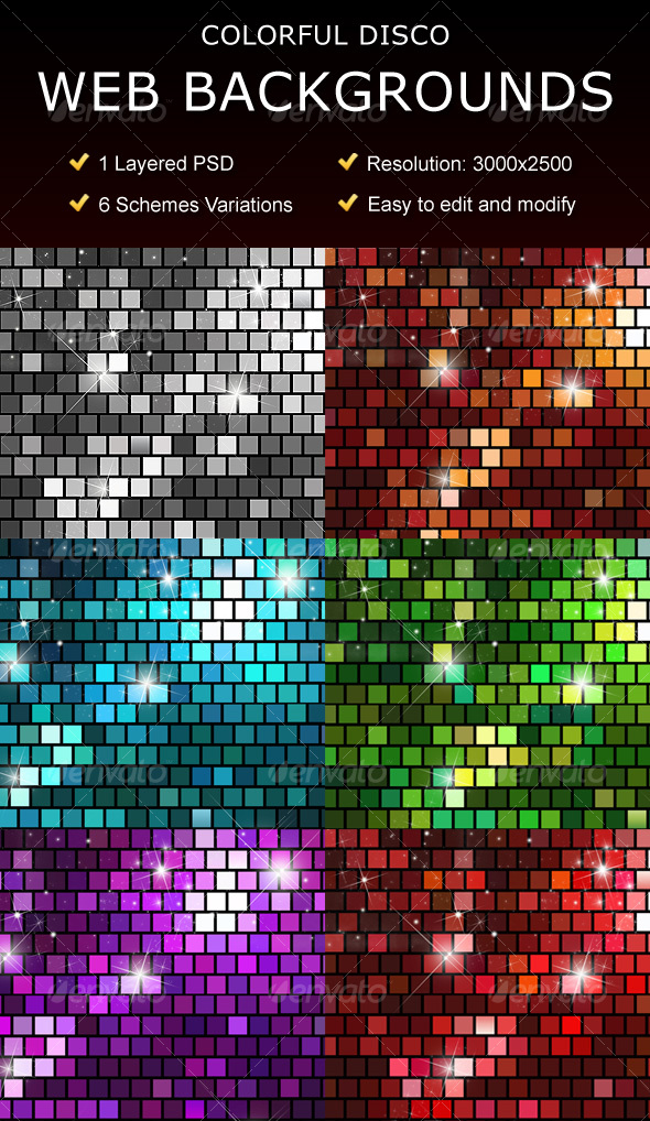 GraphicRiver Disco Web Backgrounds 95435