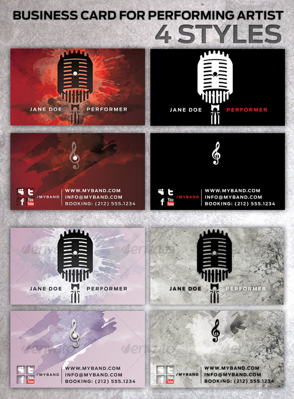 GraphicRiver Business Card for Performing Artists in 4 Styles 95641