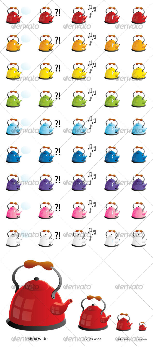 GraphicRiver Colorful Teapots in Four Moods Icon Set 95102