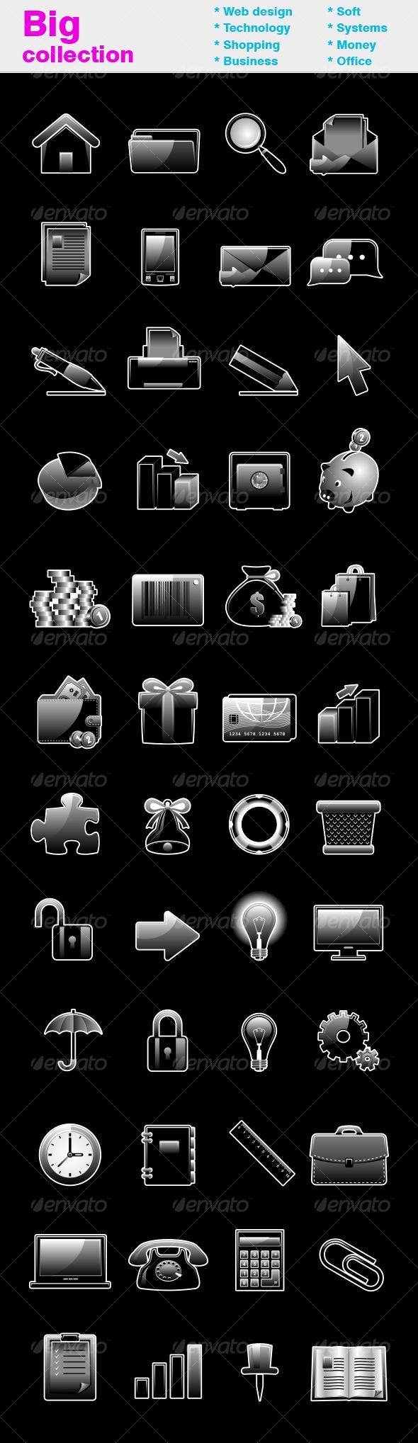 GraphicRiver Black glossy icon set 95660
