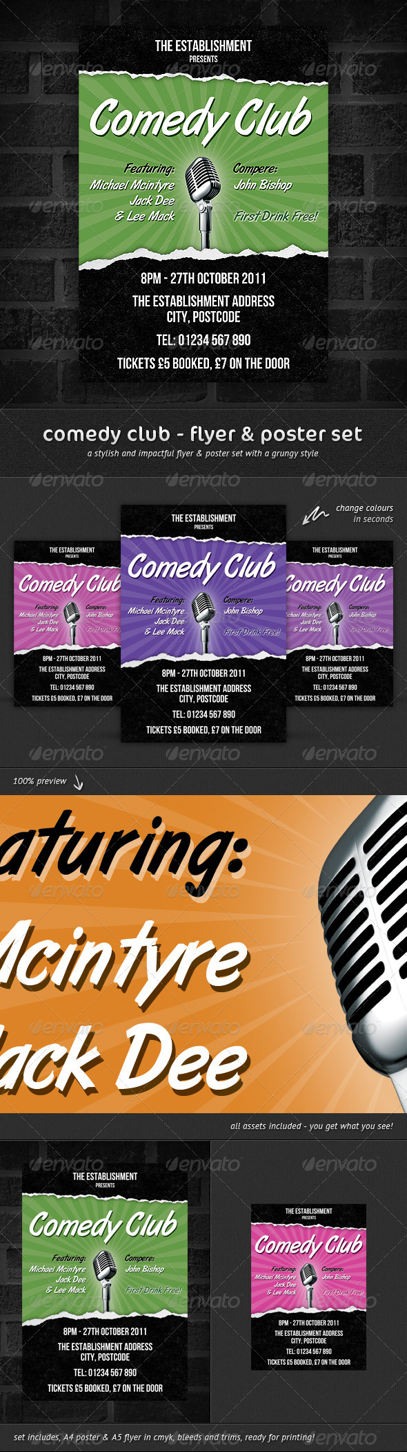GraphicRiver Comedy Club Flyer & Poster Set 307916
