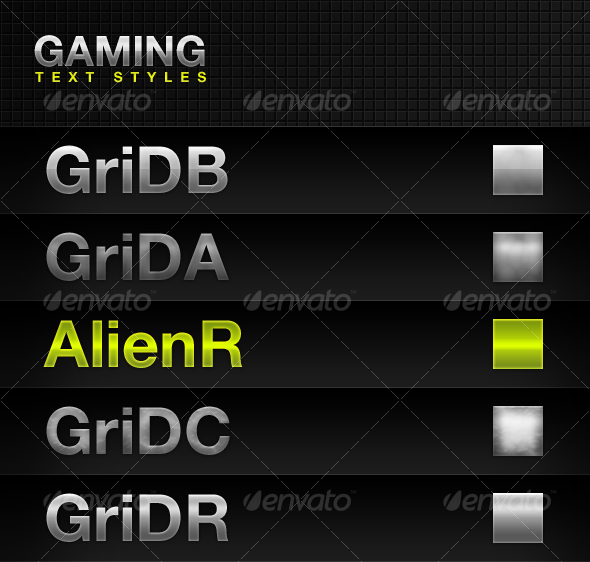 GraphicRiver Gaming Text Styles 94287