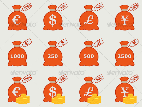 GraphicRiver Vector Money Bags with Currency Symbols 95971