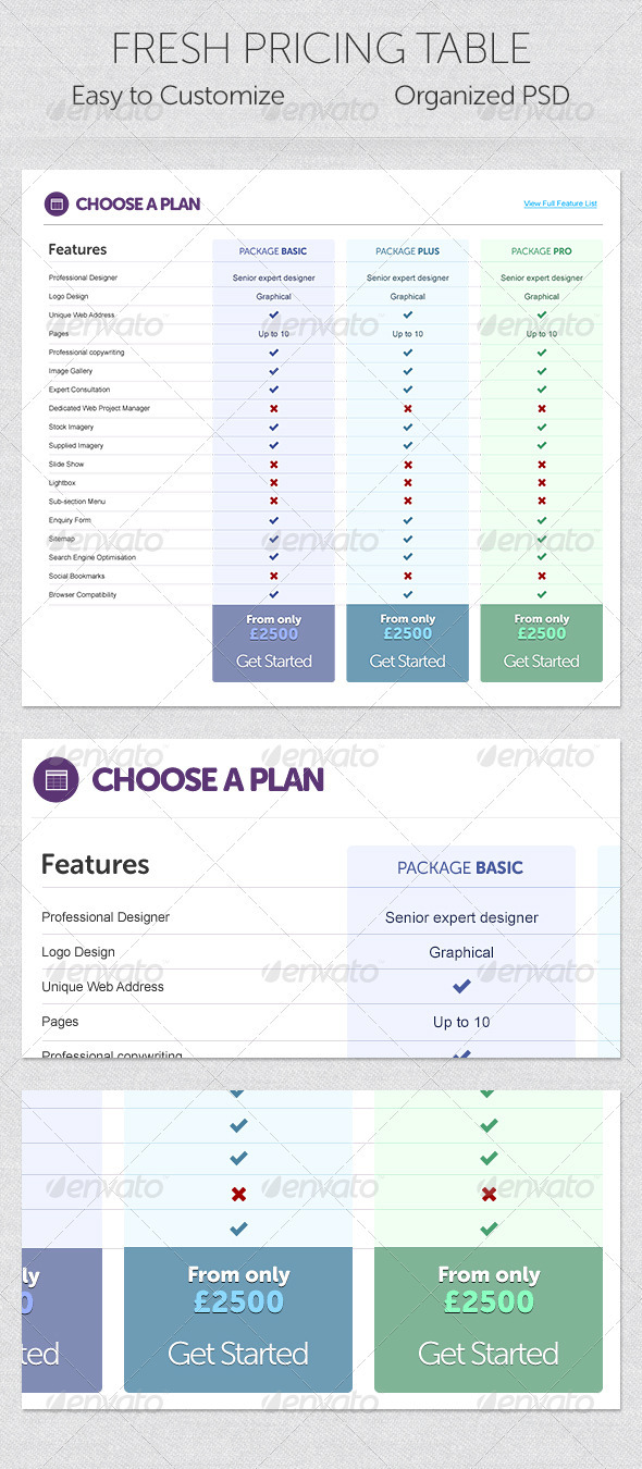GraphicRiver Fresh Pricing Table 2654708