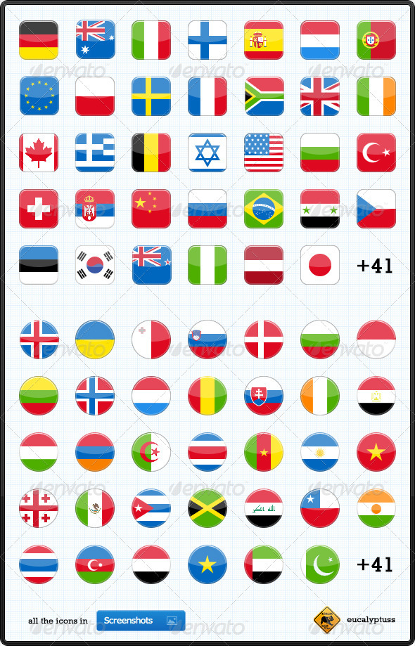 GraphicRiver 75 Flags Icons 72881