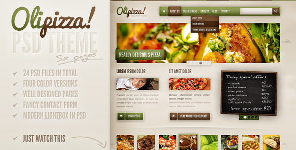 ThemeForest Olipizza Really tasty PSD theme in 4 colors PSD Templates Retail Food 2658101