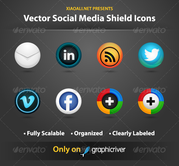 GraphicRiver Social Media Vector Shield Icons 467077