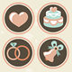 25 Vector Wedding Icons in Retro Style - GraphicRiver Item for Sale