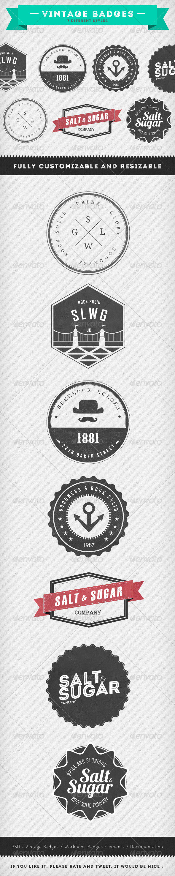 GraphicRiver Vintage Badges 7 Diferent Styles 2659248