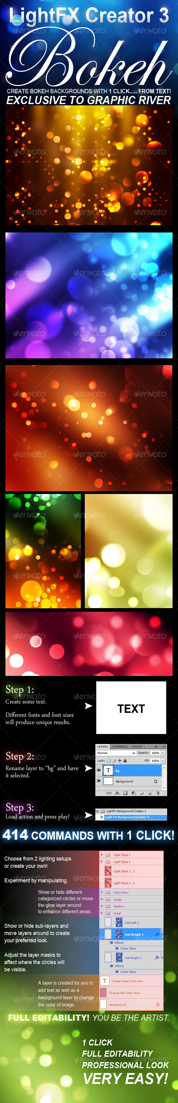 Graphic River LightFX Background Creator 3 Bokeh  Add-ons -  Photoshop  Actions  Utilities 94911