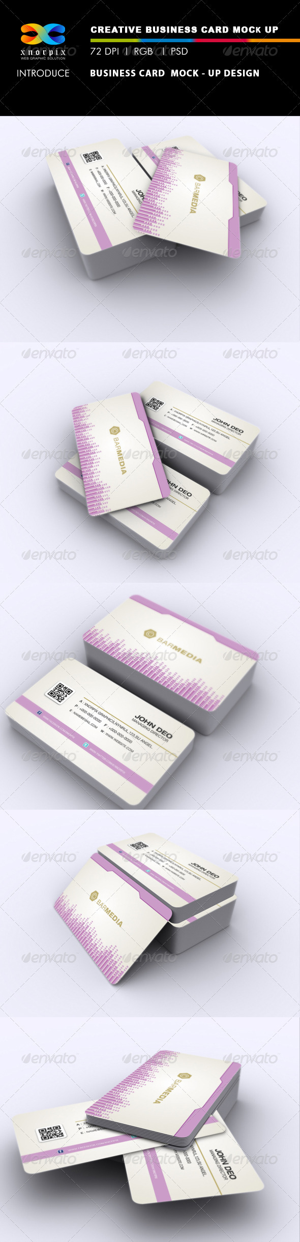 GraphicRiver Realistic Round Corner Business Card Mock-up 2662898